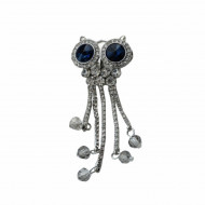 Brosa dama eleganta in forma de bufnita cu pietricele, Blue owly