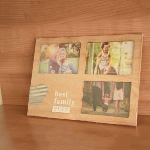 Cadru rama foto decorativa Pufo Family din lemn, 3 locuri, 34 x 24 cm