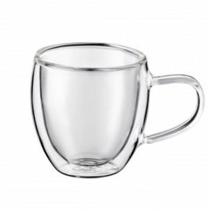Cana cu pereti dubli Pufo pentru bauturi fierbinti, cafea sau ceai, 250 ml, transparent
