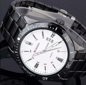 Ceas CURREN Chronometer metalic, afisare data, negru, cadran alb