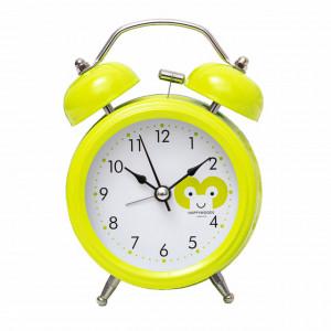 Ceas de masa desteptator Pufo Joy cu buton de iluminare cadran, metalic, 15 cm, verde