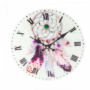 Ceas de perete din sticla, Pufo Dreamcatcher, 30 cm