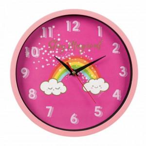 Ceas de perete pentru copii, model Norisorul Magic, 25 cm, Pufo, roz