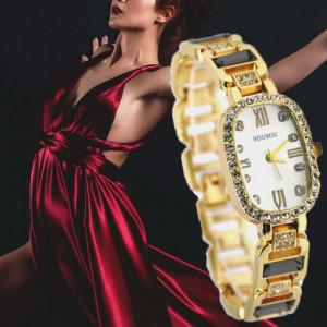 Ceas elegant de dama Shine Crystal - Gold Edition, bratara metalica