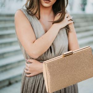Clutch elegant de dama, model Pufo Gold Exclusive, 20 cm