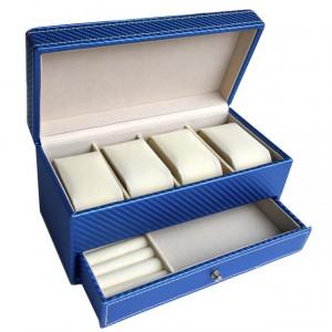 Cutie caseta de dama pentru depozitare si organizare 4 ceasuri, model etajat cu sertar pentru bijuterii, albastru