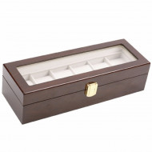 Cutie caseta din lemn pentru depozitare si organizare 6 ceasuri, model Pufo Premium, maro inchis