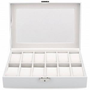 Cutie caseta eleganta depozitare cu compartimente pentru 12 ceasuri, model Premium cu cheita, alb, Pufo