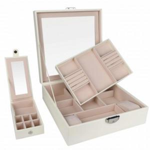 Cutie caseta eleganta Pufo Glamour cu oglinda pentru depozitare si organizare bijuterii, crem