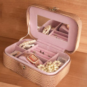 Cutie caseta eleganta Pufo Glamour pentru depozitare bijuterii, imprimeu crocodil