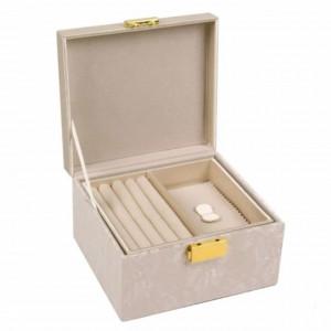 Cutie caseta pentru organizare si depozitare bijuterii, crem cu model din dantela