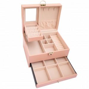 Cutie eleganta de dama Pufo Glamour pentru depozitare si organizare bijuterii si accesorii, model etajat, roz
