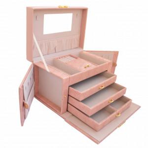 Cutie eleganta Pufo Gourgeos pentru depozitare si organizare accesorii si bijuterii, roz