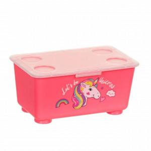 Cutie pentru sandwich cu capac, model Pufo Pink Unicorn, 17 cm