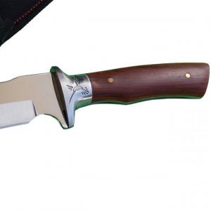 Cutit de vanatoare 31 cm, maner lemn, gravat cu Pasarea Phoenix, teaca inclusa