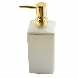 Dispenser ceramic Pufo Elegance Gold pentru sapun lichid, 20 cm, alb
