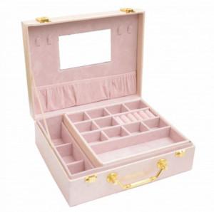 Geanta eleganta Pufo Cream pentru depozitare si organizare accesorii si bijuterii