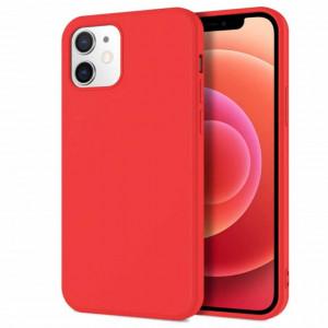 Husa de protectie iPhone 12 cu interior din catifea, silicon, rosu