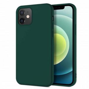 Husa de protectie iPhone 12 cu interior din catifea, silicon, verde