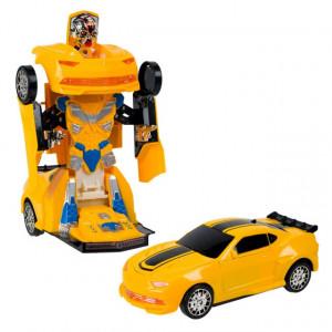 Masina robot transformabil Pufo galben, pe baterii, cu sunete si lumini