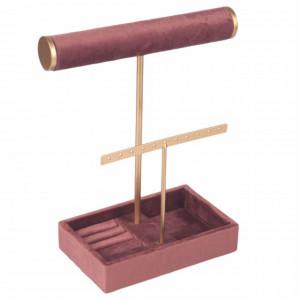 Organizator pentru bijuterii si accesorii din catifea, Pufo Pink Velvet, model premium, 25 cm