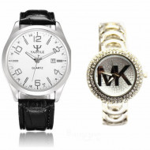 Pachet ceas barbatesc elegant Yazole + ceas elegant de dama Shine Crystal argintiu cu bratara metalica