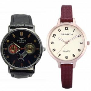 Pachet ceas elegant de dama REBIRTH, curea visinie + Ceas barbatesc SLIM negru extra-plat