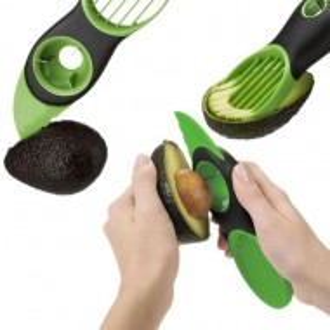 Pachet Cutit special Pufo 3 in 1 pentru curatat si feliat avocado + Aprinzator reglabil si reincarcabil pentru aragaz tip bricheta, negru