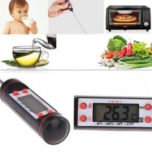 Pachet Termometru digital cu sonda pentru bucatarie, lichide, alimente, lactate, prajituri + Set nou nascuti 0-3 luni 100% bumbac din 5 piese