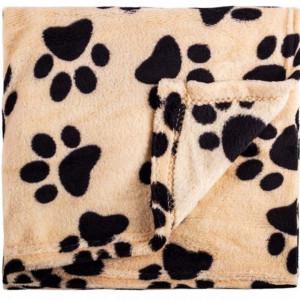 Paturica calduroasa si confortabila Pufo pentru animale de companie, model cu labute, bej, 100x70 cm