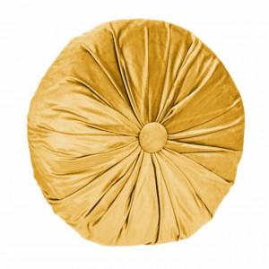 Perna decorativa rotunda Pufo din catifea cu buton, model Attraction velvet, pentru canapea, pat, fotoliu, galben