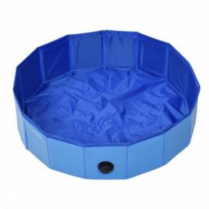 Piscina pliabila Pufo pentru caini, 80 cm, albastru