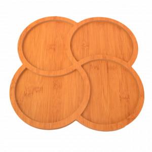 Platou din lemn pentru servire cu 4 compartimente, 29 cm