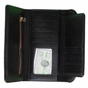 Portofel elegant de dama cu suport detasabil de bancnote si carduri, 19 x 9 cm, negru