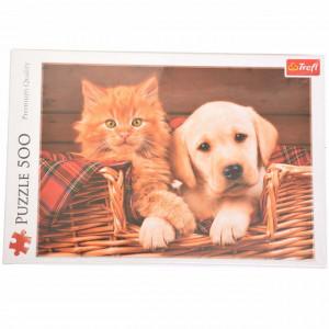 Puzzle modern Catelus si pisica, prieteni nedespartiti 500 piese, model Premium
