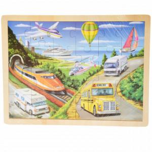 Puzzle Pufo din lemn pentru copii, 24 piese, 40 x 30 cm, model Travel