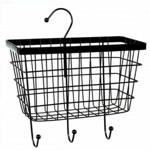 Raft cu suport si carlige pentru organizare si depozitare, Pufo House, negru, 26 x 24 cm