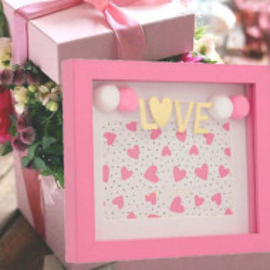 Rama foto decorativa PufoPinky Love, 18 x 21 cm