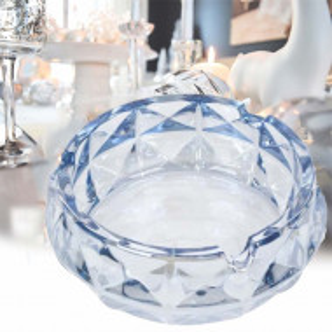 Scrumiera rotunda eleganta din sticla, Pufo Blue, 13 x 5 cm