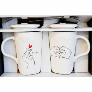 Set 2 cani pentru ceai sau cafea cu lingurita si capac, For you, 300 ml, ceramica