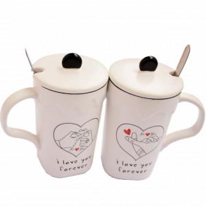 Set 2 cani pentru ceai sau cafea cu lingurita si capac, Love you forever, 300 ml, ceramica