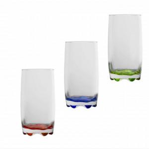 Set 3 pahare pentru apa, suc, racoritoare cu fund colorat, sticla, 350 ml, Pufo