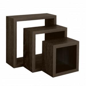 Set 3 rafturi Pufo Black pentru perete din lemn, cu sistem de prindere