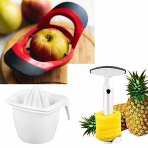 Set 3 ustensile Pufo pentru bucatarie de curatat legume, fructe si storcator citrice