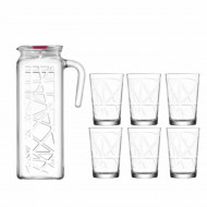 Set carafa 1.2 L si 6 pahare pentru apa sau suc de 205 ml, din sticla, transparente