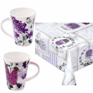 Set fata de masa tip musama Pufo, model cu lavanda, 130 x 170 cm + set de 2 cani din portelan Purple flower, 375 ml, Pufo