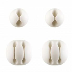 Set suport pentru organizare cabluri, 4 bucati, alb