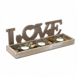 Set suport Pufo Love din lemn pentru lumanare cu 4 pahare