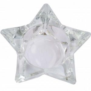 Suport pentru lumanare din sticla, Pufo Star, 9,5x5 cm