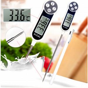 Termometru digital alimentar de insertie cu tija Pufo, afisaj LCD, 4 butoane si oprire automata, interval masurare -50° C - +300° C